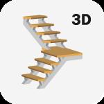 3D Расчет металлической лестницы с поворотом 90 градусов