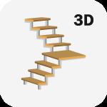 3D Расчет металлической лестницы с поворотом 90 градусов с тетивой зигзаг
