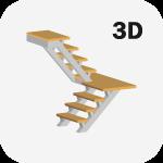 3D Расчет металлической лестницы с поворотом 180 градусов