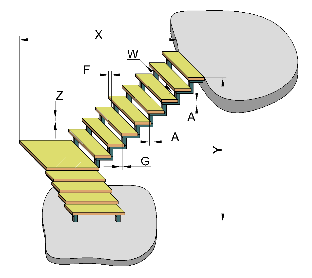 3D L-shaped steel stair calculator: saw-tooth stringers type