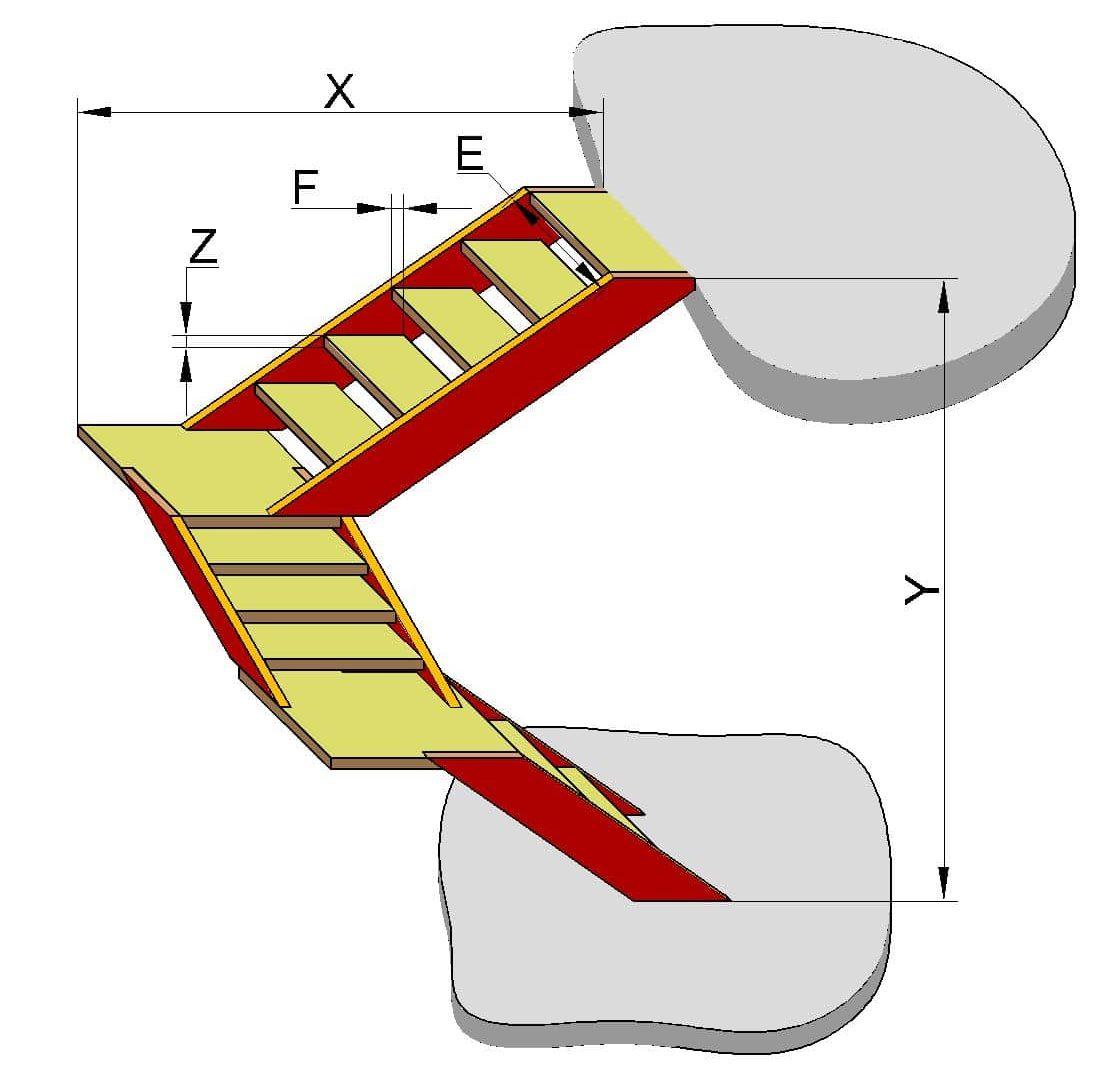 Чертеж лестницы с тремя пролётами и ровными площадками