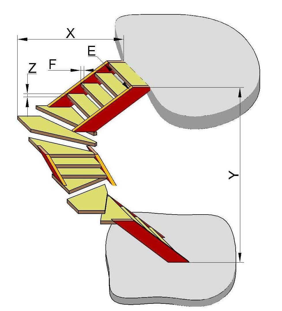 Чертеж лестницы с тремя пролетами и поворотными ступенями