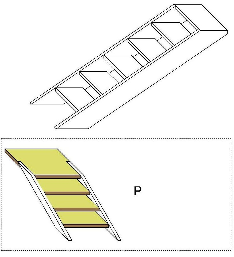3D L-shaped stair calculator: Building materials calculator of a
